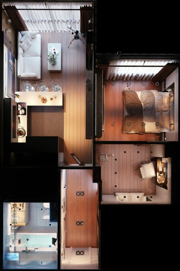 3 Distinctly Themed Apartments Under 800 Square Feet (~75 square meter)  with Floor