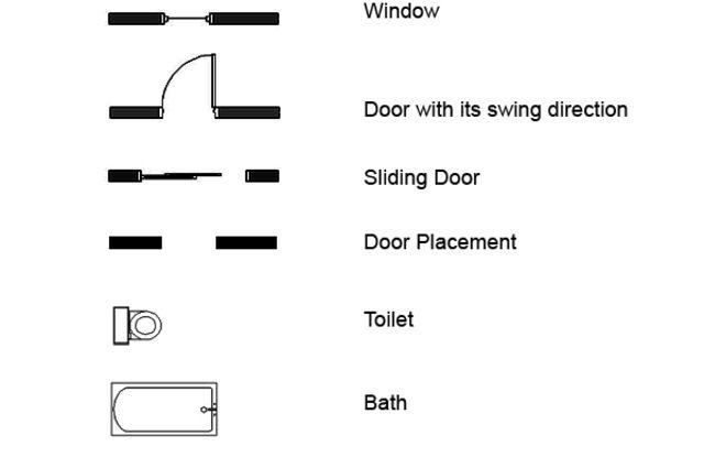 Architectural Floor Plan Symbols Floor Plan Symbols Architecture Symbols Interior Design Sketches