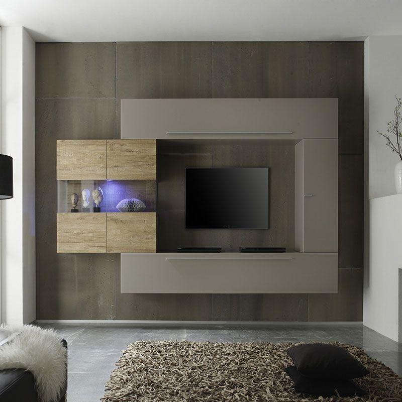 Ensemble meuble TV couleur taupe et chêne moderne PAOLA Entrance