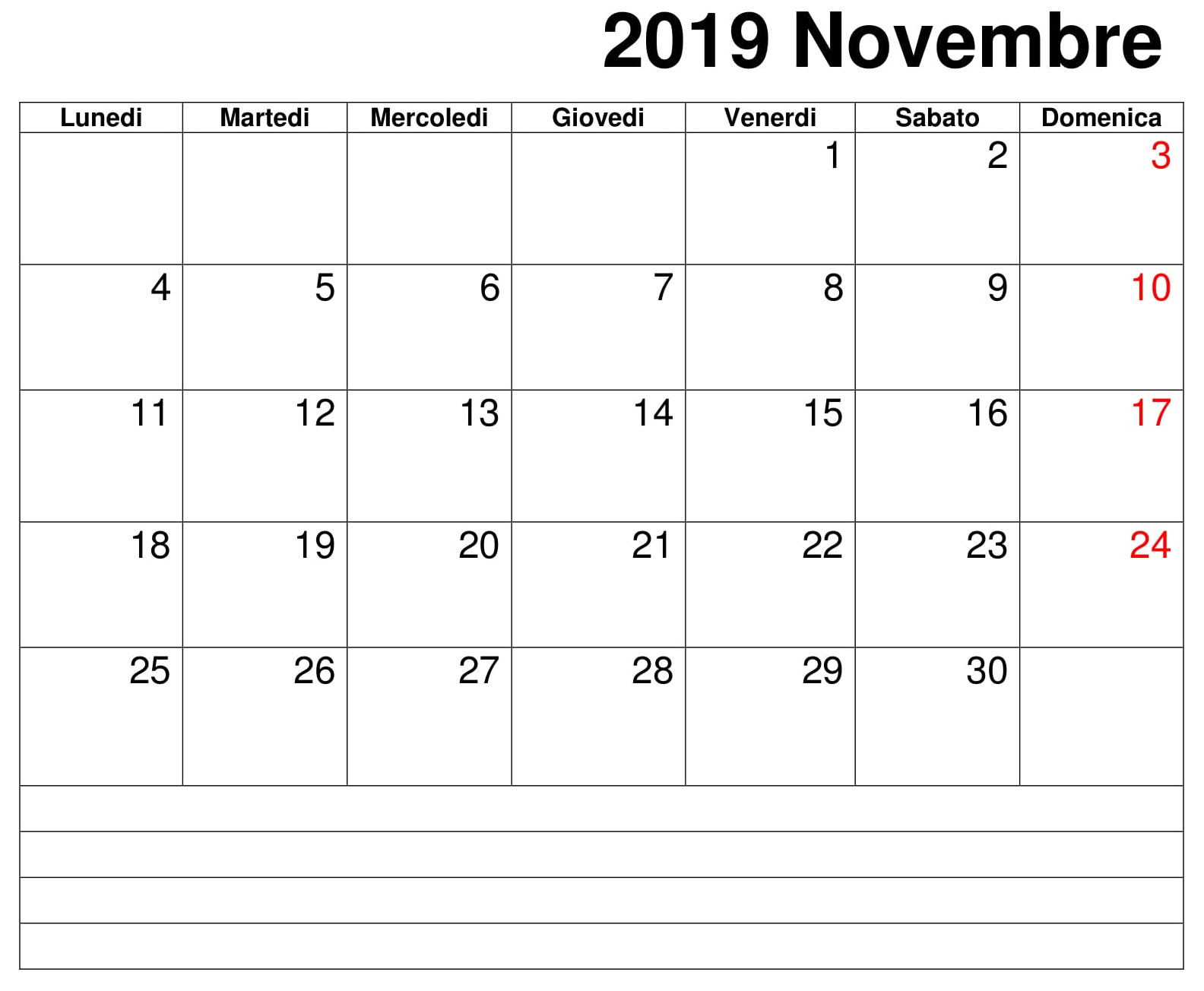 Calendario Mese Dicembre 2019 Da Stampare.Documento Calendario Novembre 2019 Da Stampare Calendario