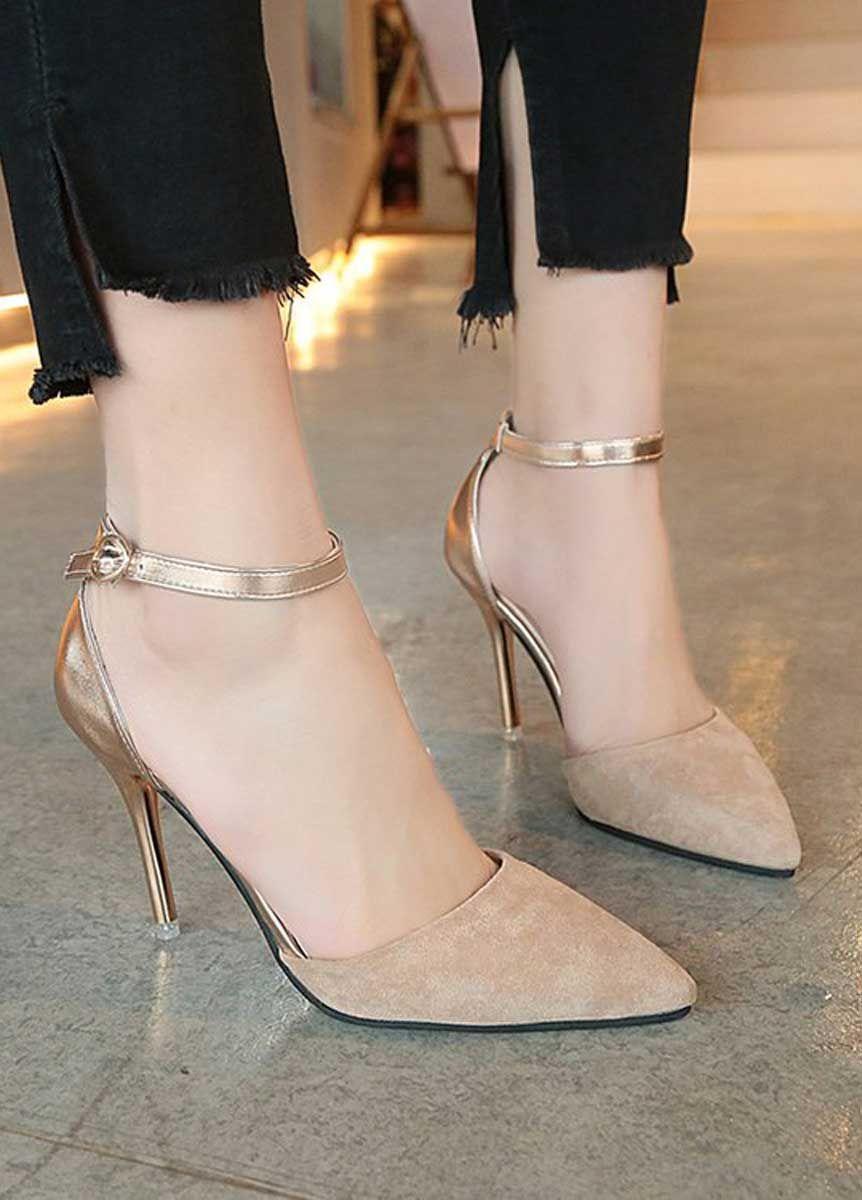 Women's #beige suede high #heel shoes