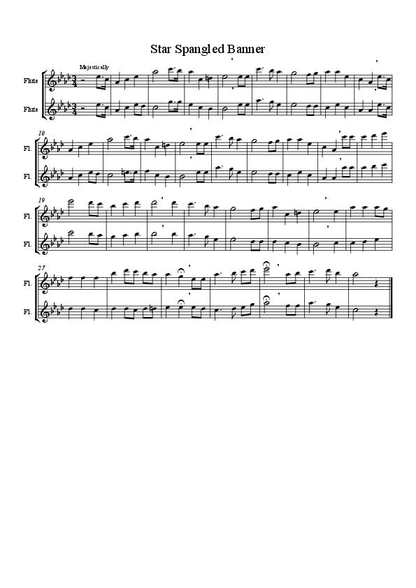 Star Spangled Banner Flute Duet Randomness Pinterest Star