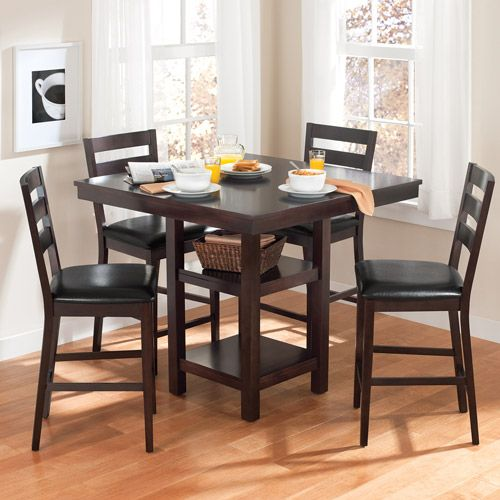 kitchen dining set mats walmart table canopy gallery collection 5 piece counter height espresso