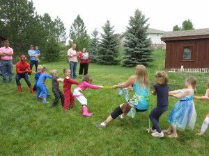 Tug of War! with SpiderMan and super hero kids!