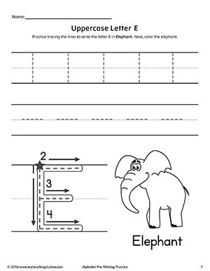 uppercase letter e pre writing practice worksheet fine motor skills tracing writing. Black Bedroom Furniture Sets. Home Design Ideas