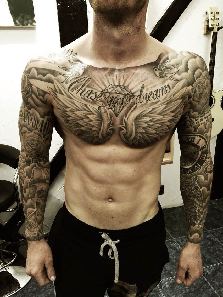 Men Chest And Upper Sleeve With Nice Flowers Tattoo: #chestpiece #tattoo #ink #sleeves