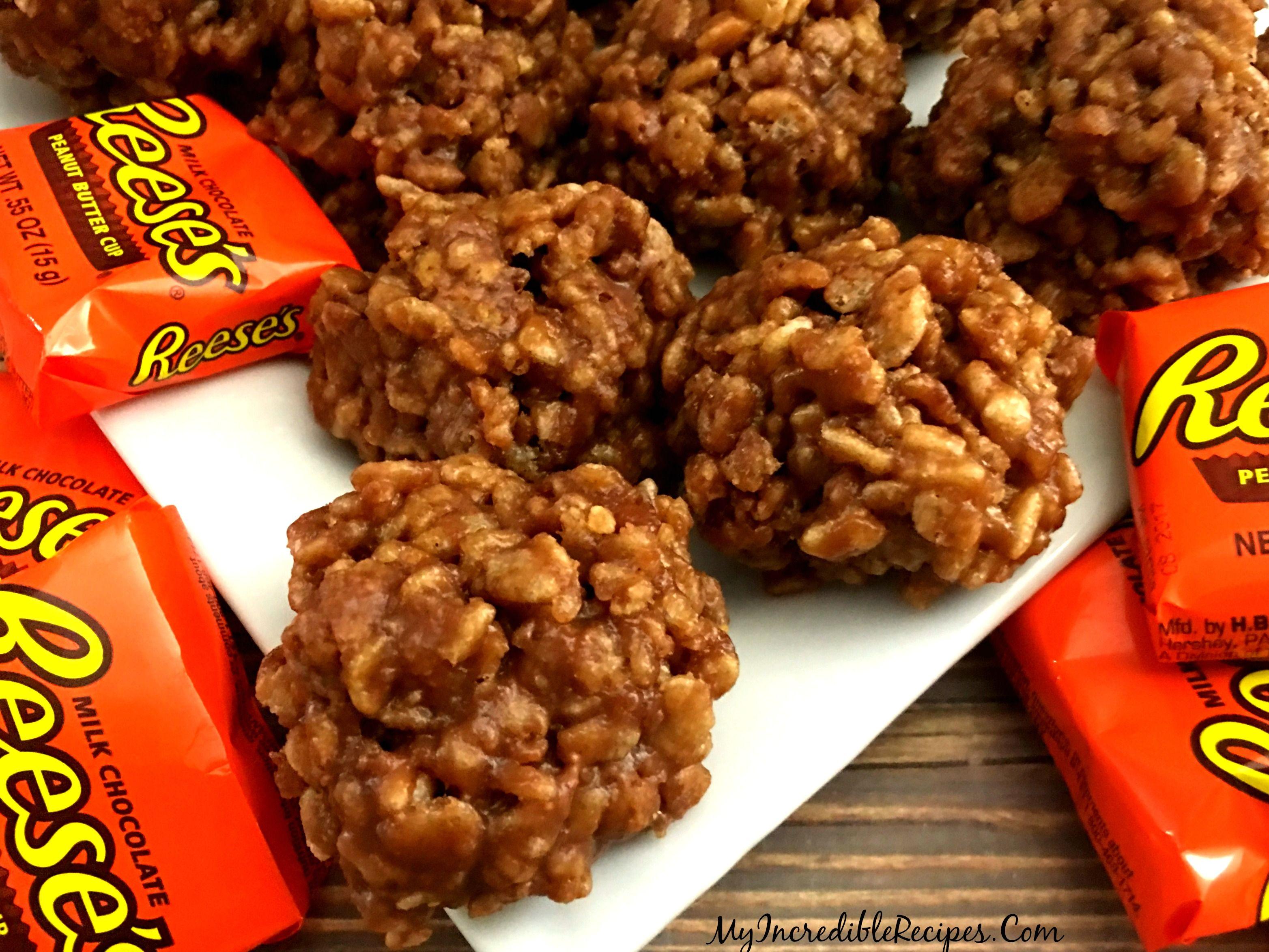 No Bake Reeses Krispy Cookies