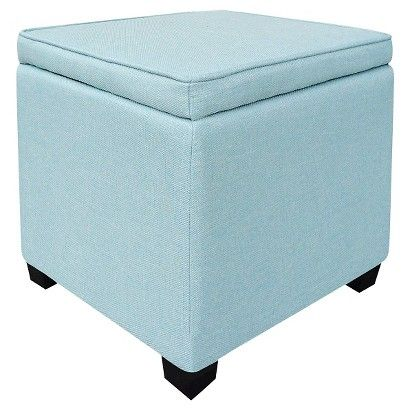Room Essentials Storage Ottoman With Feet Light Blue