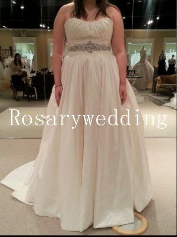 Strapless beading sash high quality taffeta wedding dress. $269.00, via Etsy.