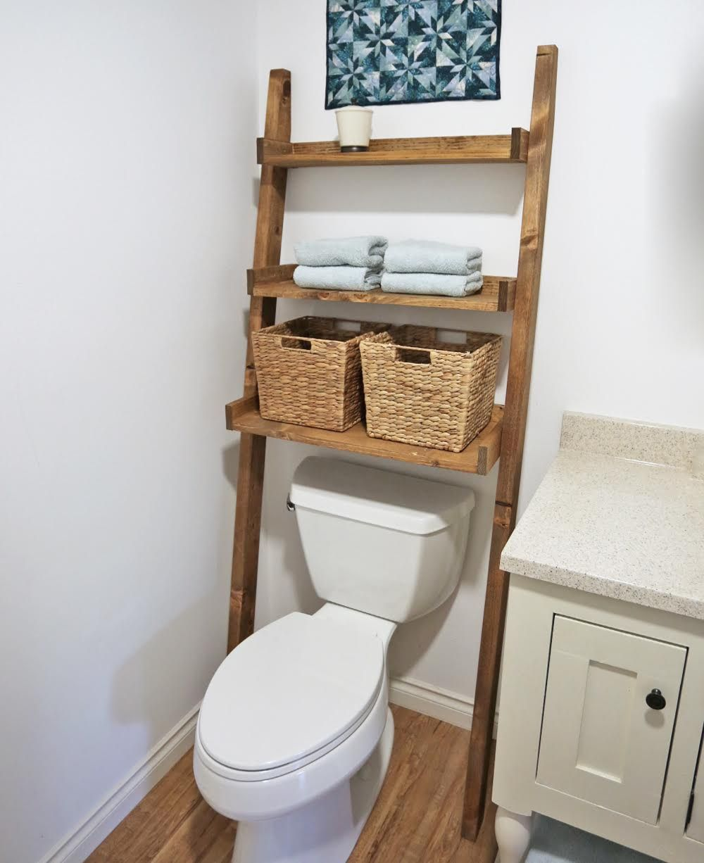 Bathroom floating shelves above toilet - Leaning Bathroom Ladder Over Toilet Shelf Ana White