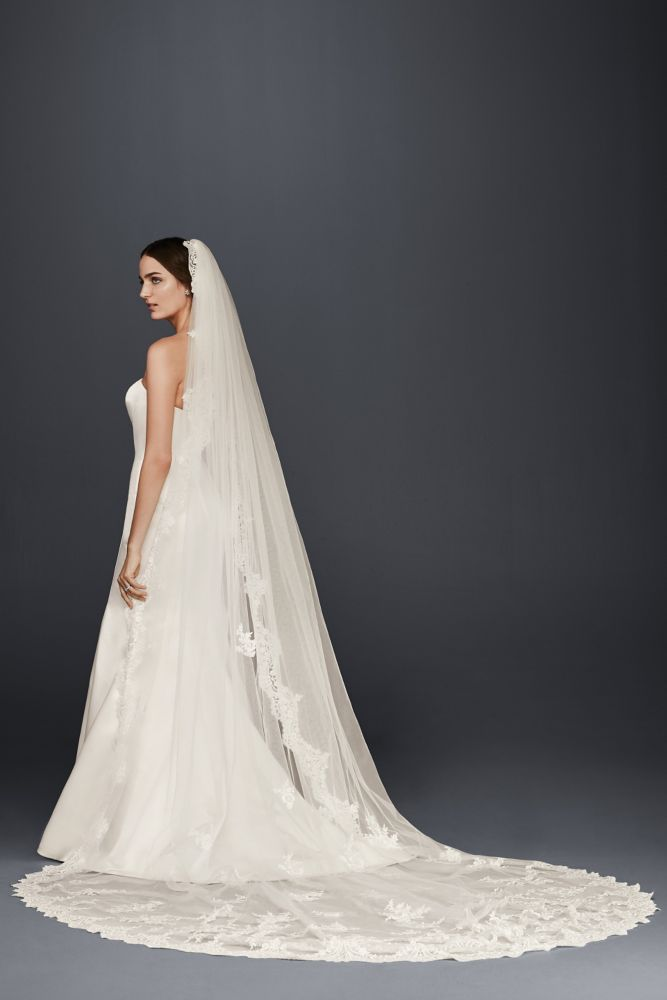 Cathedral Veil with Sequined Lace Appliques - White