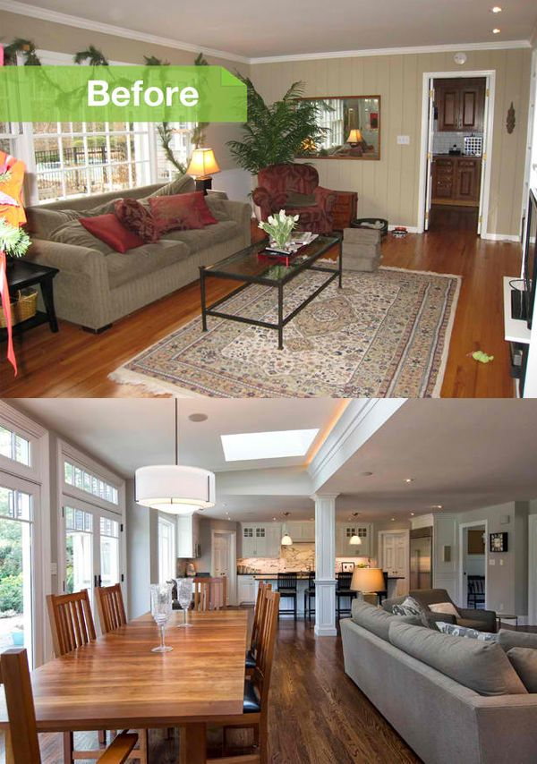 Before and after photos of a modernized 1970s new jersey - Remodeling living room and kitchen ...