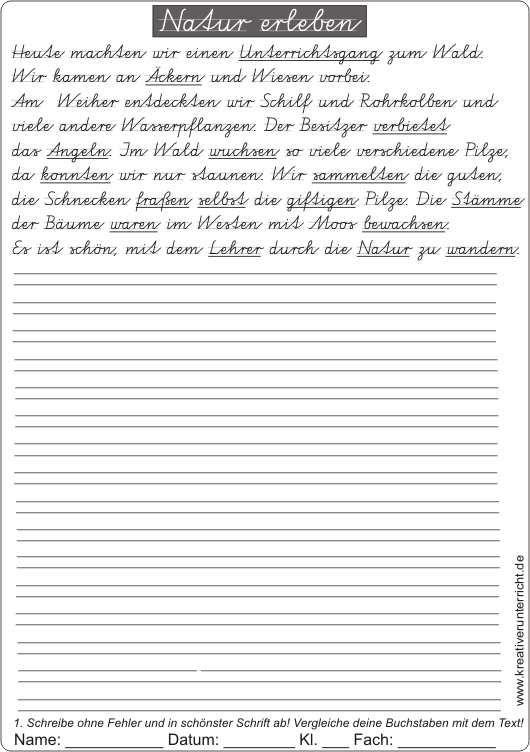 sch nschreiben mit dem text natur erleben schule pinterest grundschule schule und deutsch. Black Bedroom Furniture Sets. Home Design Ideas