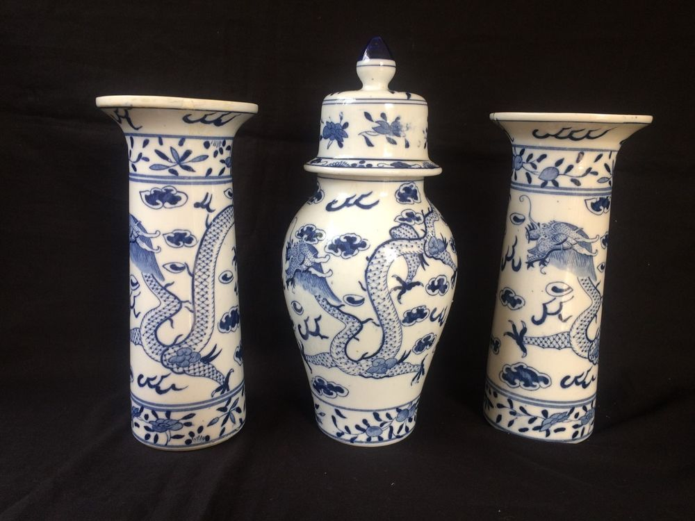 Antique Porcelain Chinese Set Of Vases Marked With 4 Characters