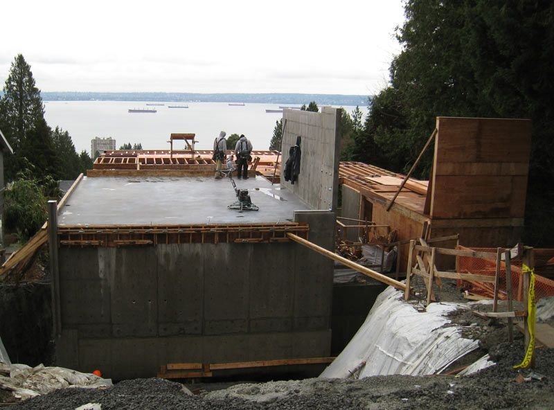 Suspended concrete slab preped up for garage wall framing for Suspended concrete floor