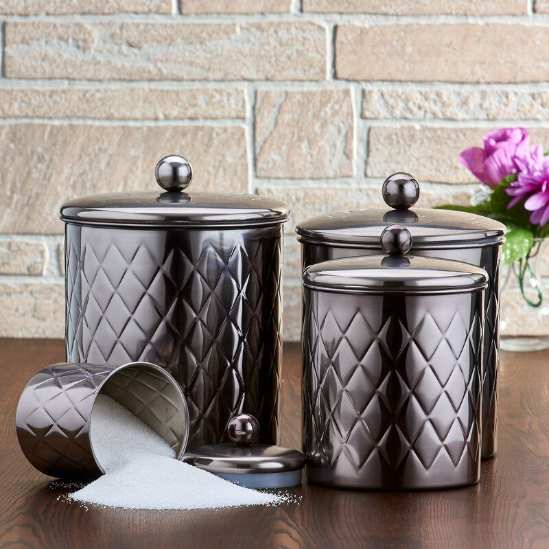 Embossed Diamond 4 Piece Kitchen Canister Set Kitchen Canister