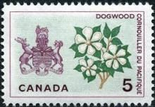Canada Stamp - (1965) Coat of Arms and Provincial flower - British Columbia: Dogwood