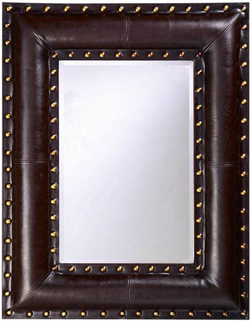 a faux padded brown leather frame is enhanced by gold studs that line the interior and exterior edges of the frame the rectangular mirror inside is the