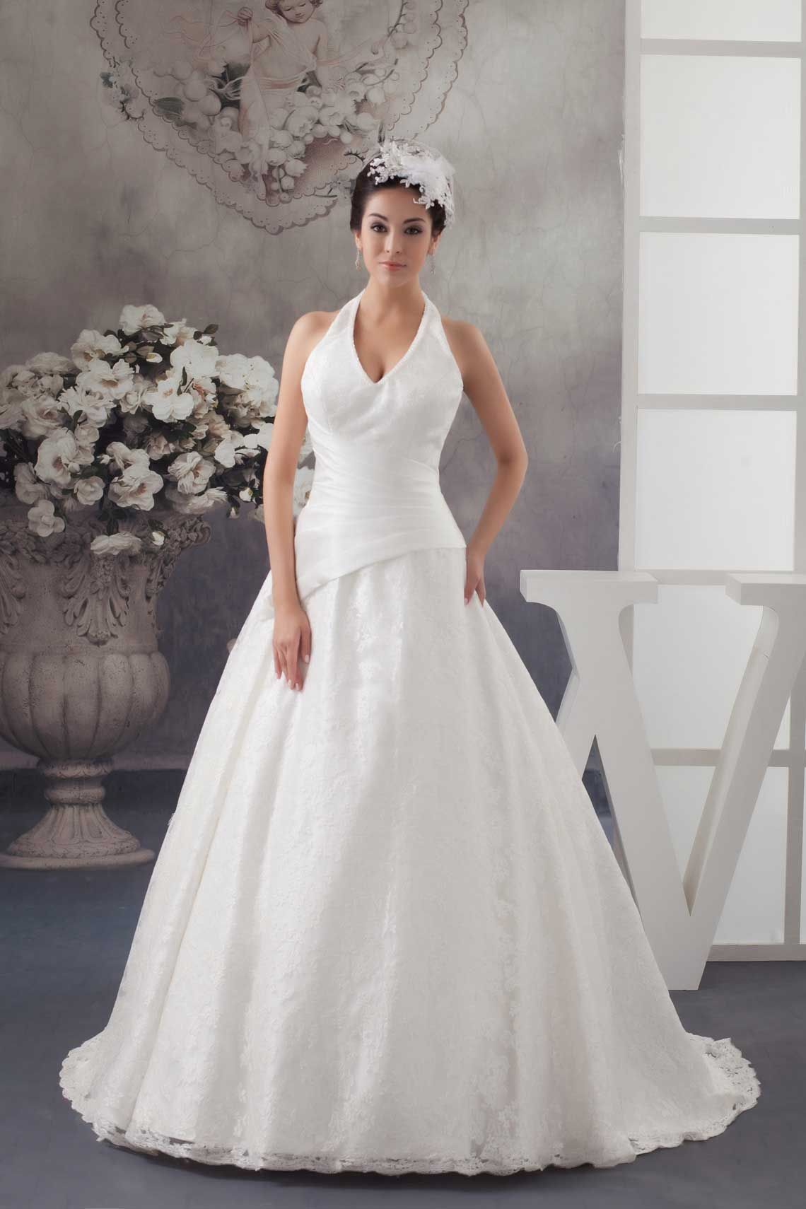 Ball Gown White Organza Court Train Halter Wedding Dress With Pearls