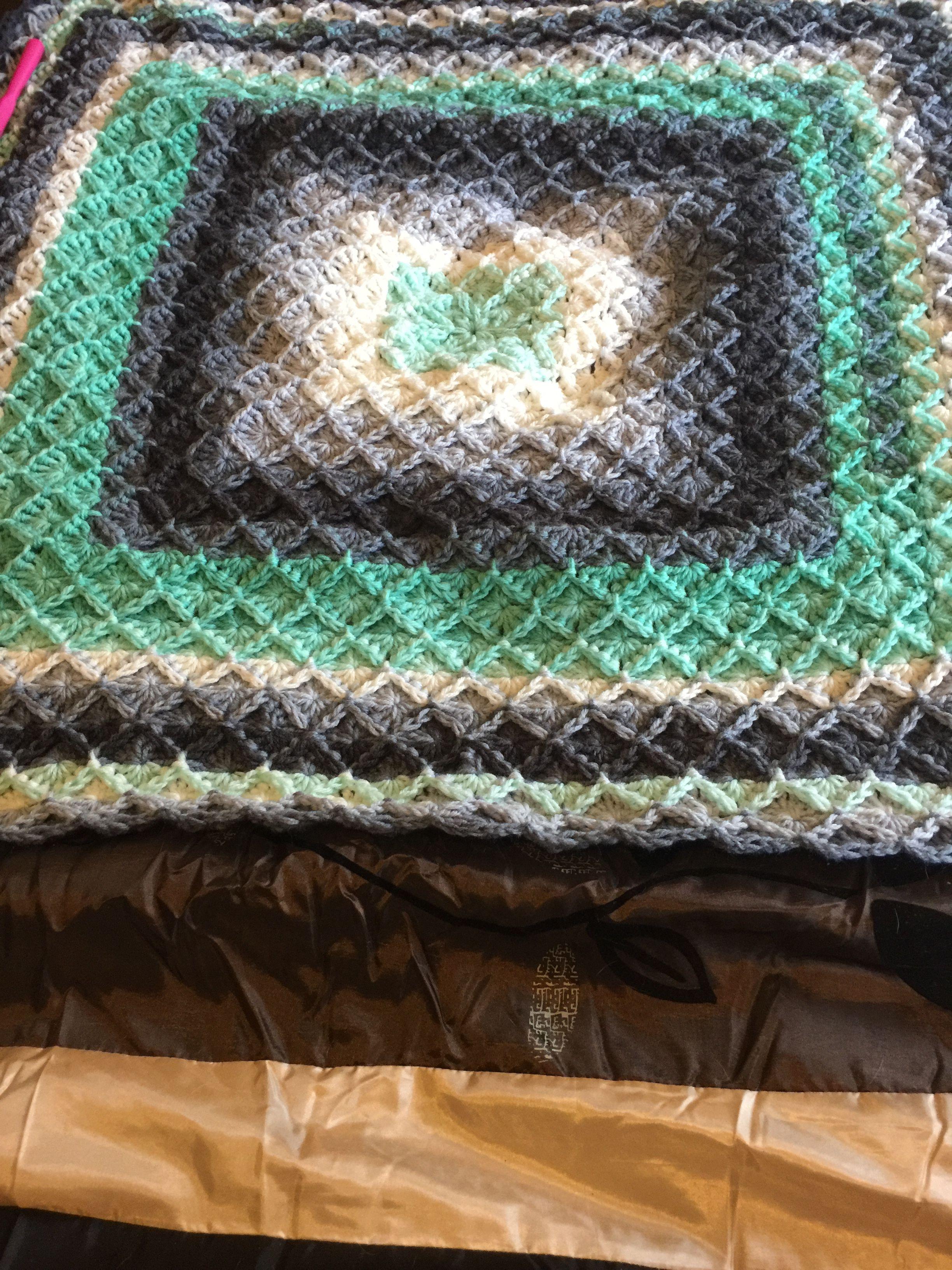 Bavarian Crochet blanket in mandala yarn. finished blanket with 3 ...
