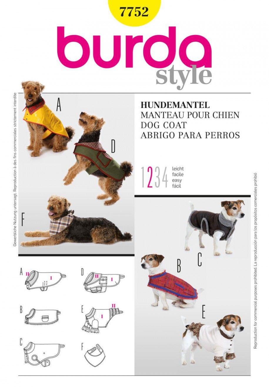Burda B7752 Dog Coat Sewing Pattern | Mixer new | Pinterest | Coats ...