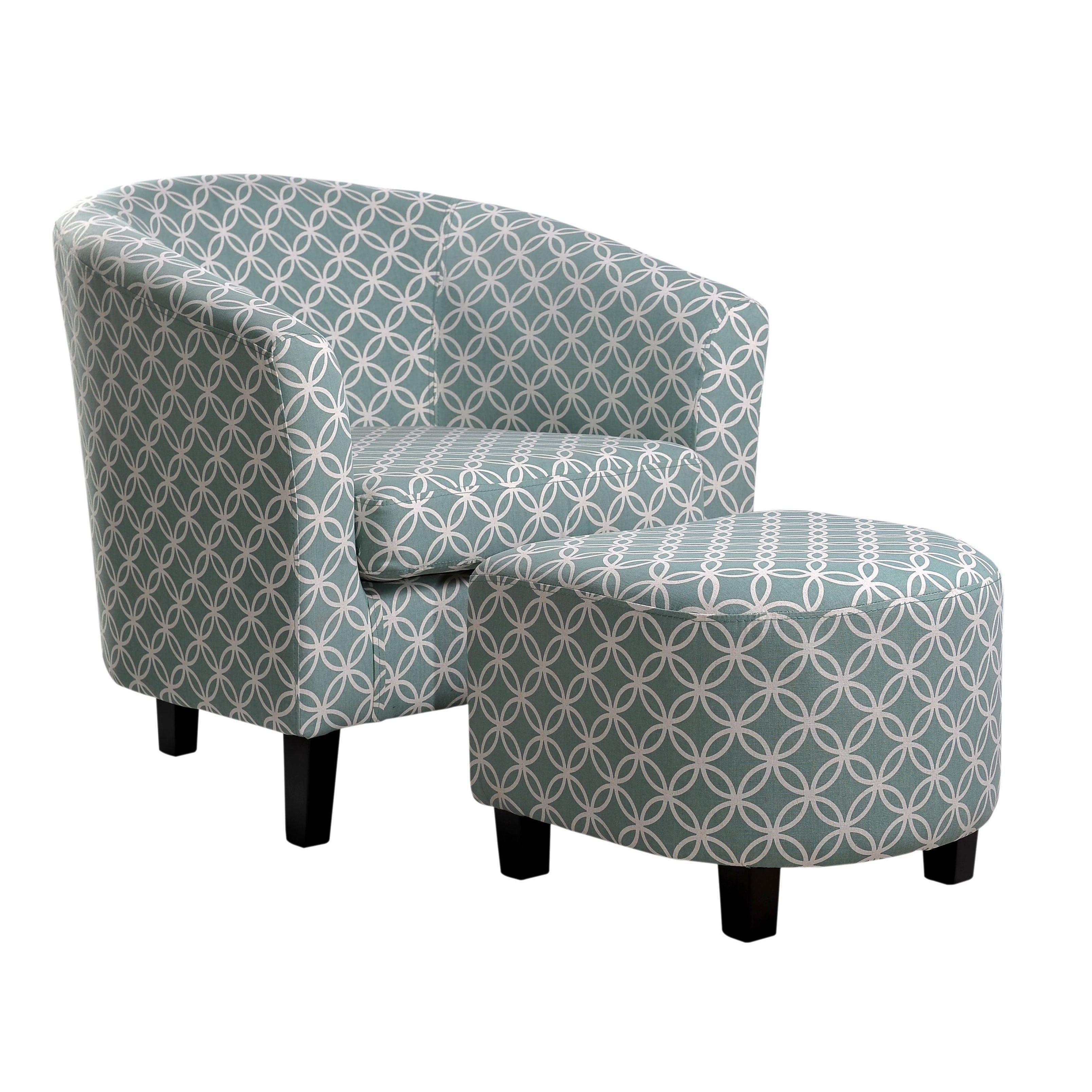 Nathanial Home Light Blue Club Chair And Ottoman Paisley Light Blue