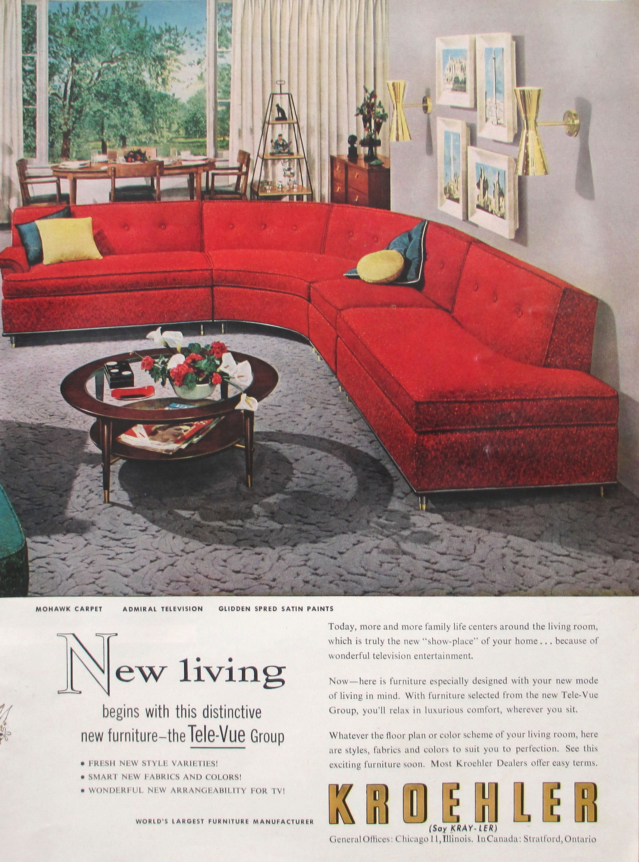 """Kroehler """"Tele Vue"""" couch designed for a relatively new activity"""