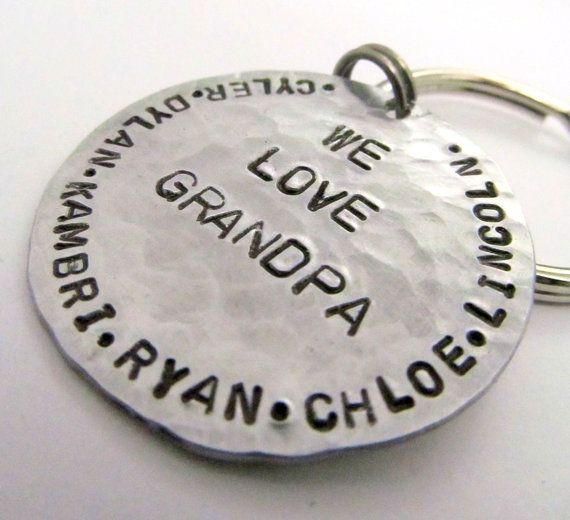 Hand Stamped KeyChain For Him - Personalized Men's gift Names of Your Choice - Gift for Granddad Grandpa Dad Personalized Keychain (010)