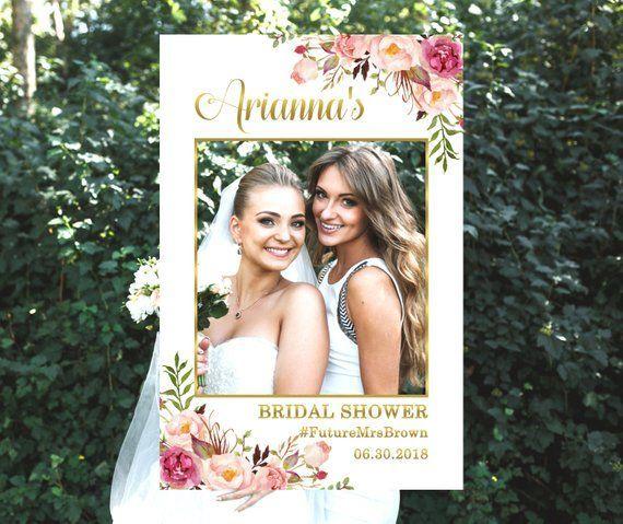 Photo Prop Frame, Bridal Shower Photo Prop, Baby Shower Photo Prop, Boho Pink Floral Gold Photo Booth Frame, Digital File B54 - ##bridal #B54 #Baby #Boho #Booth #Digital #File #floral #frame #gold #Photo #Pink #prop, #shower