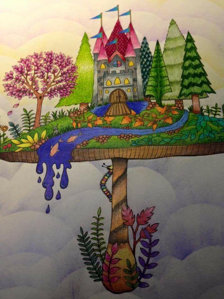 Mushroom Castle. Enchanted Forest. Castelo no Cogumelo. Floresta Encantada. Johanna Basford
