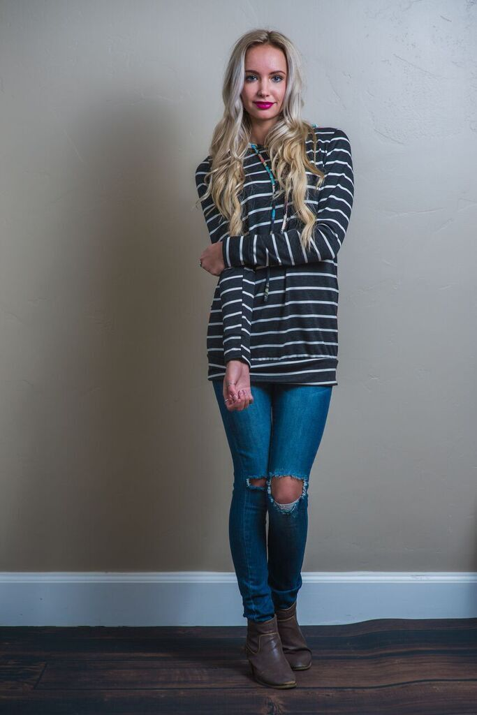 Claire Mixed Print Hoodie