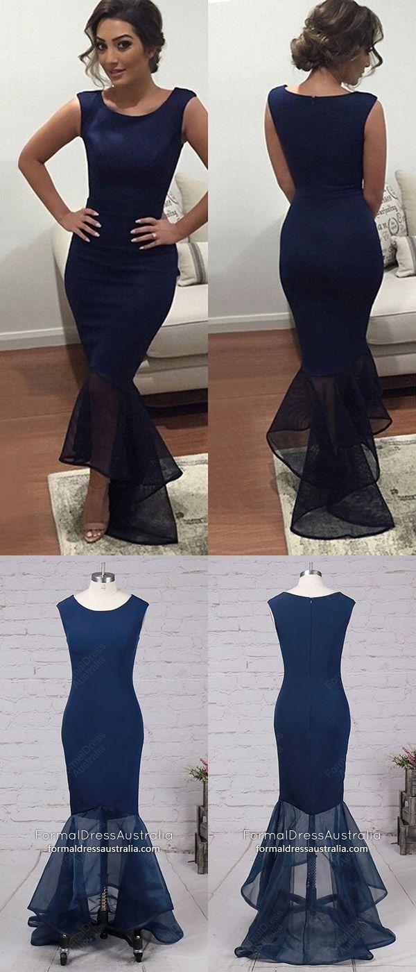 Dark navy formal dresses long modest prom dresses mermaid