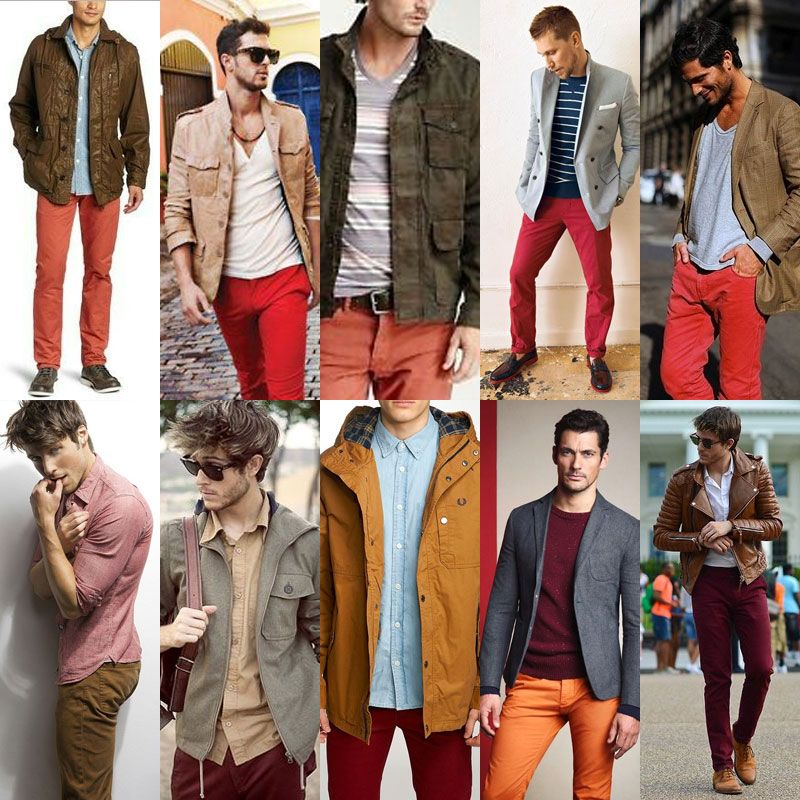 SS16 Men's Fashion Washed Red and Berry Color Trend