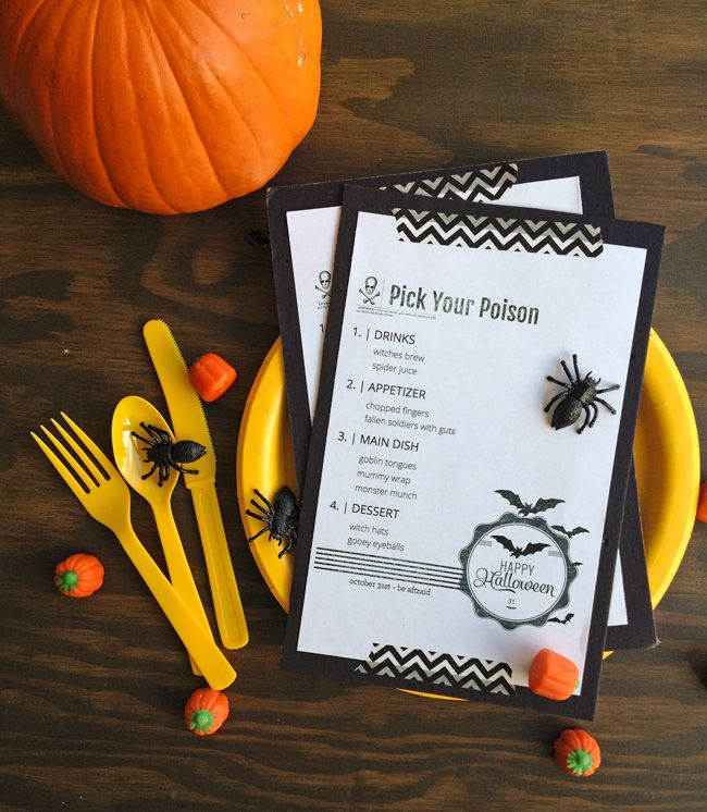 Halloween Dinner Menu Printable