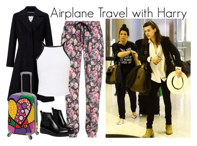 """""""Airport with Harry"""" by fashionluver55 ❤ liked on Polyvore featuring Markus Lupfer, John Lewis, Miss Selfridge, WithChic and Rockland Luggage"""