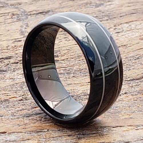 Dorado Mens Rings Two Thin Inlays Black tungsten rings