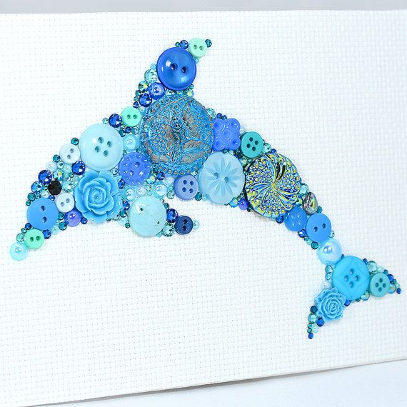 Button Art Blue Dolphin Vintage Button Art by PaintedWithButtons