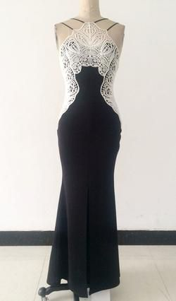 Sleeveless Halter Neck Black Evening Dress