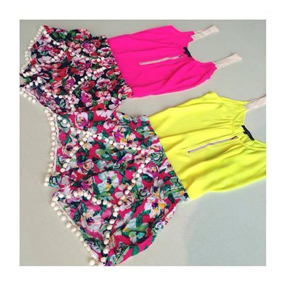 floral pom pom shorts #swoonboutique