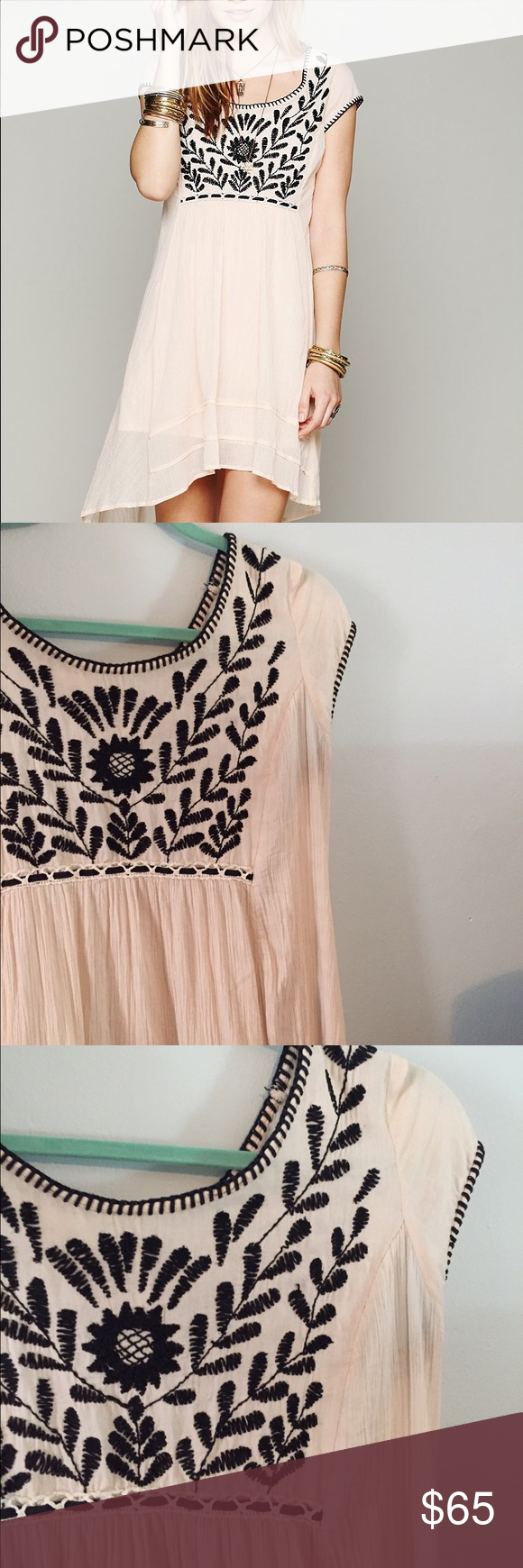 Free People marina embroidered dress Great condition. Very popular FP dress. Beautiful embroidery. Tag says medium but would also fit larger sizes. Flowy. Free People Dresses