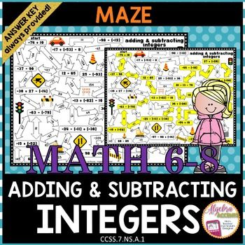 Adding and Subtracting Integers Maze Activity Subtracting integers