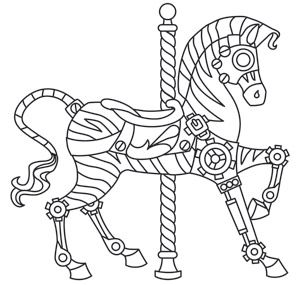 coloring pages of carousel zebra - photo#5
