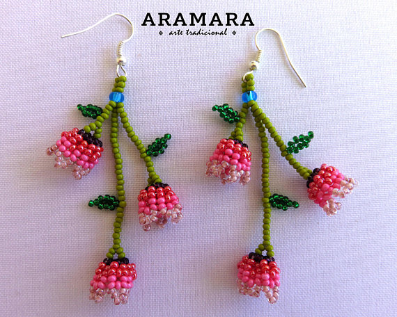Mexican Earrings Huichol Earrings Mexican Jewelry Mexican Boncuk