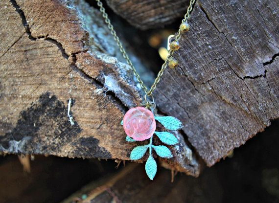 Patina Leaf Necklace by piecesofaprilmel on Etsy