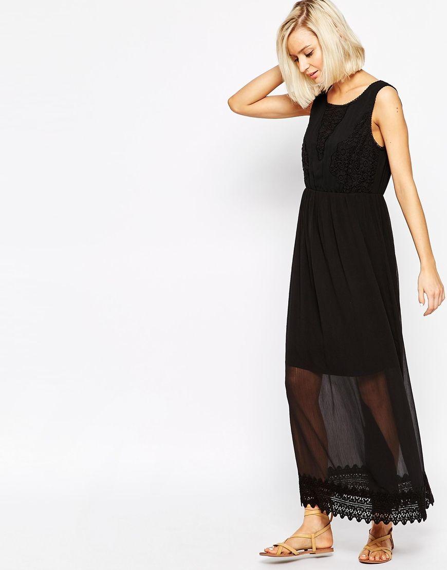 Image 4 of Vero Moda Tall Embroidered Mesh Overlay Maxi Dress
