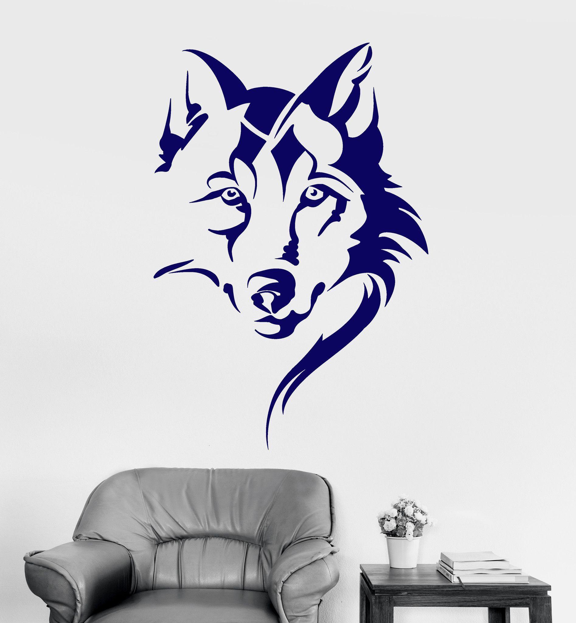 Vinyl Wall Decal Wolf Head Animal Tribal Art Room Decor