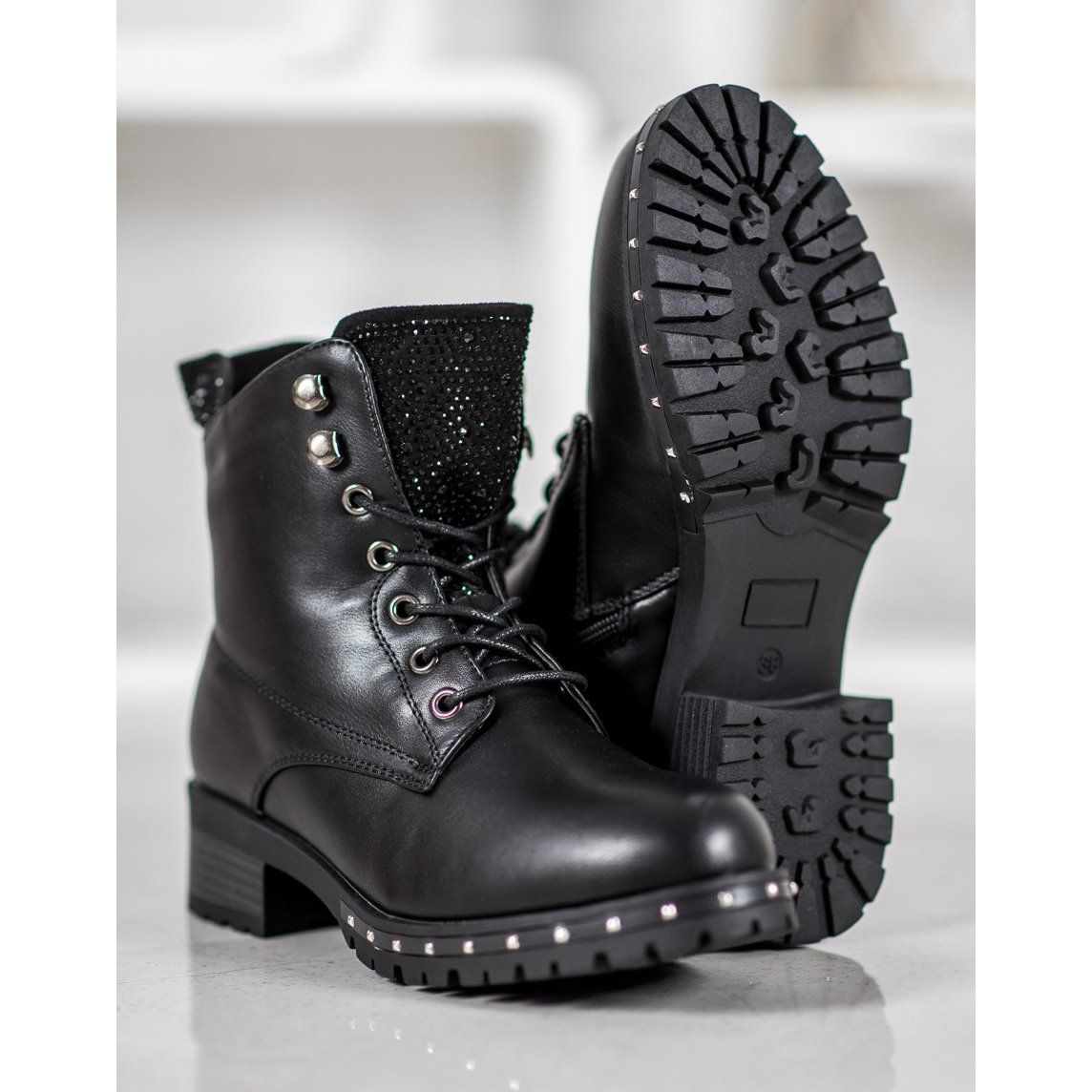 J Star Elegant Ankle Boots With Crystals Black Classic Black Boots Boots Black Boots Women