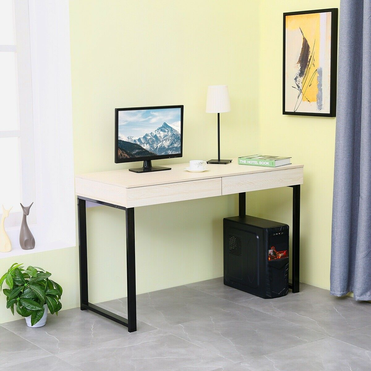 Computer Desk PC Laptop Study Writing Table Workstation w// 2 Drawers Home Office