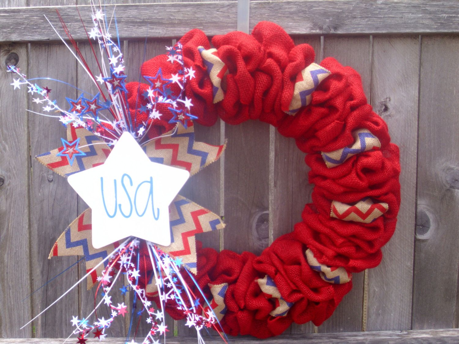 Festive patriotic burlap wreath. Great to show your by ModernAandD, $50.00