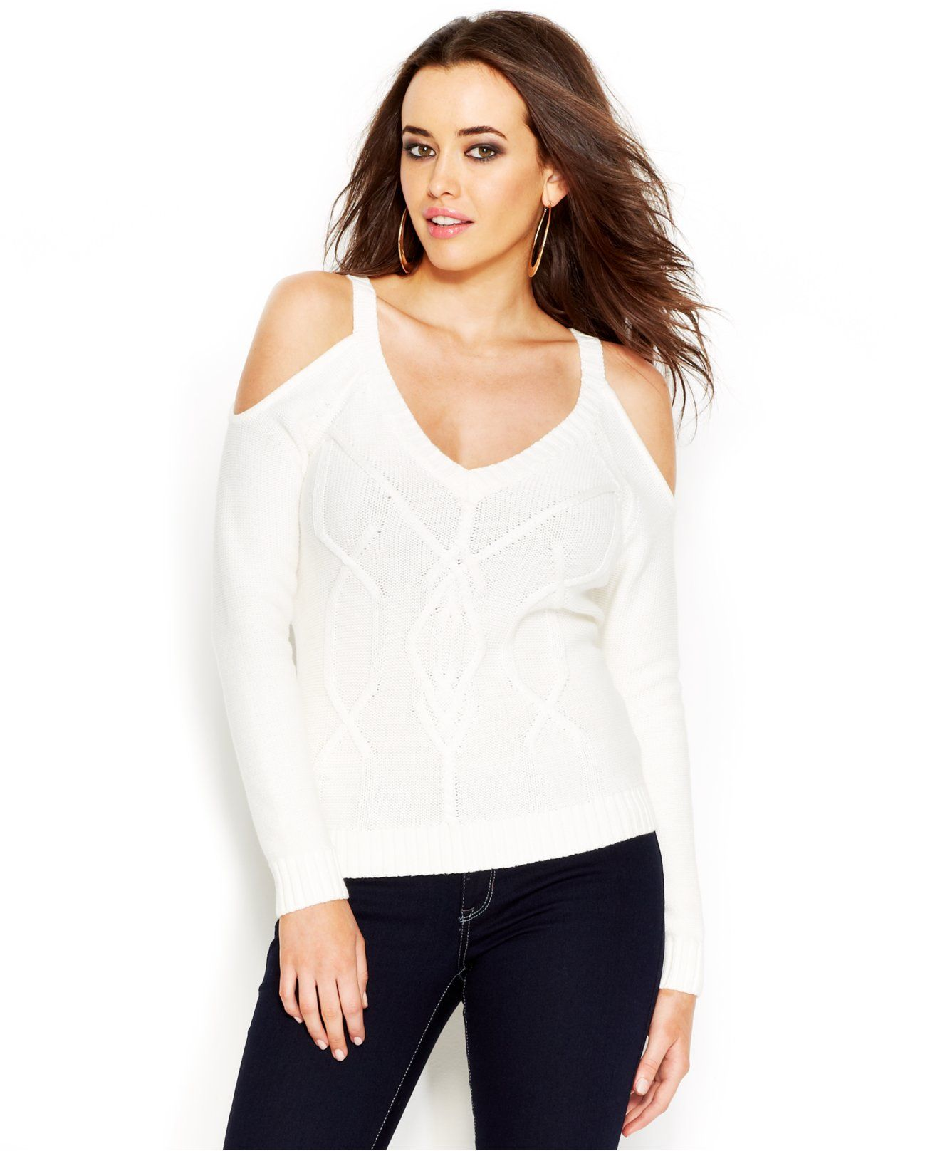 GUESS V-Neck Shoulder-Cutout Cropped Sweater - Juniors Sweaters ...